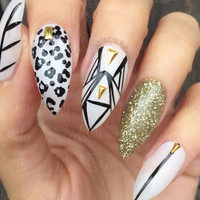 Sheer White Mix and Match studded, Leopard Print Handpainted False Nails • Fake Nails • Press on Nails • Stick on Nails