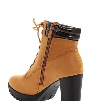 Cleated Sole Camel Ankle Boots