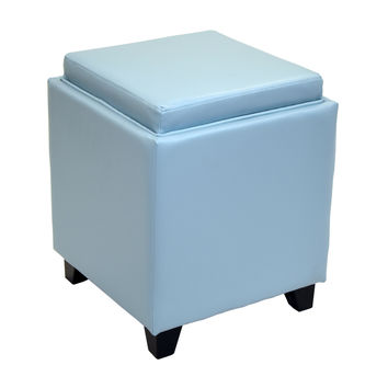 ARMEN LIVING Rainbow Contemporary Storage Ottoman With Tray in Sky Blue Bonded Leather