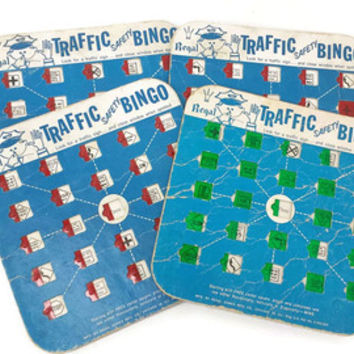 Vintage Traffic Safety Bingo Cards, Regal Games, Travel Auto Bingo, Road Trip, Assemblage, Crafting, Ephemera,  Altered Art, Scrapbooking