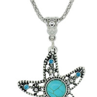 Starfish Faux Turquoise Necklace