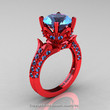 Classic French 14K Red Gold 3.0 Ct Blue Topaz Solitaire Wedding Ring R401-14KRGBT