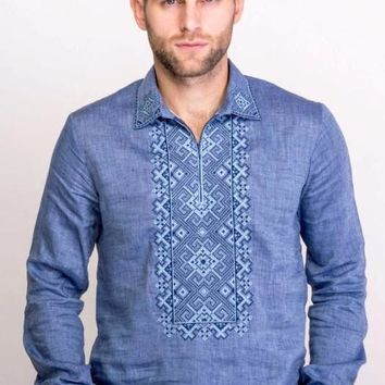 "Men's embroidered shirt ""Vortex"" blue linen"