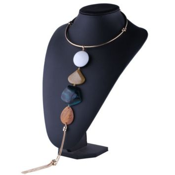 New fashion alloy collar long fringed necklace