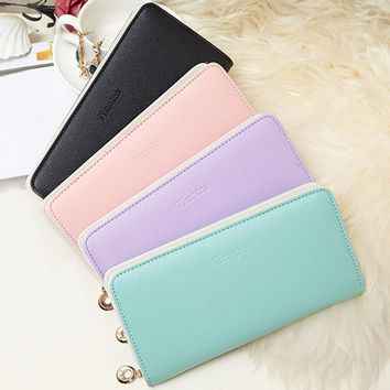 Naivety Long Wallet Female Women Simple Hasp PU Leather Zipper Coin Purse Card Holders Solid PU Fashion Handbag Droship 10Jun 25