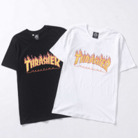 Thrasher flame letters print short sleeve top couple T-shirt tee blouse