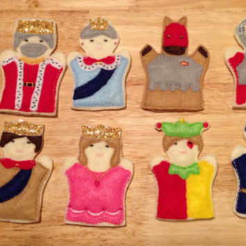 Kingdom finger puppet set embroidered puppet, kids, children, toys, games, make believe, pretend play felt, story time king, queen, princess
