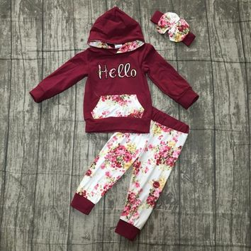 new Fall/winter outfits baby girls hoodie clothes children wine burgundy hello floral milk silk cotton boutique pocket match bow