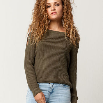 FULL TILT Lattice Shoulder Womens Sweater