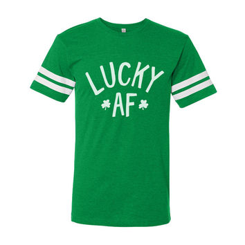 St. Patrick's Day Lucky AF (White Ink) Vintage Football Shirt