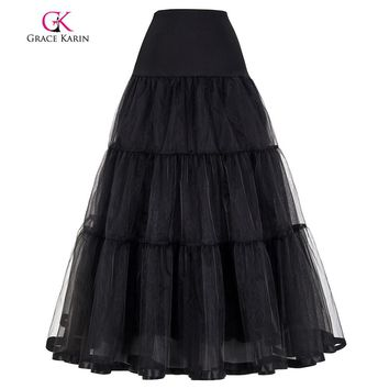 Grace Karin White Black Petticoat Long For Wedding Dresses Ball Gown Voile Ruffles Underskirt Crinoline Wedding Accessories
