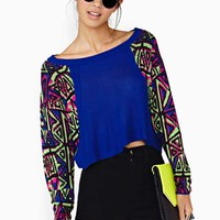 Nasty Gal Electric Beat Crop Knit