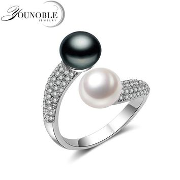 Real 925 Sterling Silver Double Pearl Rings Women,daughter gift bridal black pearl ring
