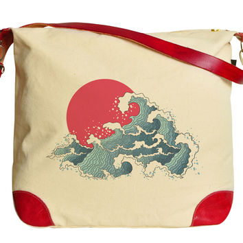 The Great Wave off Kanagawa-1 Beige Printed Canvas Shoulder Bags WAS_33