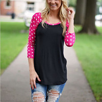 Black And Pink Polkadot Sleeve Shirt