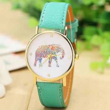 Mint Green Elephant Leather Watch