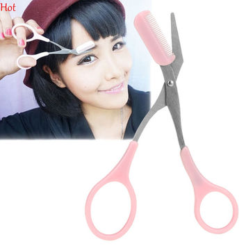 Pink Eyebrow Trimmer Eyelash Thinning Shears Comb Shaping Eyebrow Grooming Cosmetic Tool Eyelash Hair Clips Scissors With Comb Hot SV027247