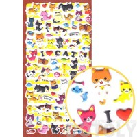 Kawaii Kitty Cat Shaped Japanese Animal Themed Puffy Sticker Seals | Japan