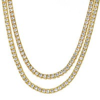 "Jewelry Kay style Men's Iced Out 4 mm 24"" / 26"" Double SET 14K Gold Plated Tennis Chain Necklace"
