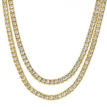 "Jewelry Kay style Men's Iced 4 mm Stone 16"" / 18"" Combo Gold Plated Short Tennis Chain Necklace"