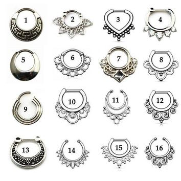 ac PEAPO2Q Tribal Fan Real&Fake Piercing Septum Clicker Flower Petals With CZ Gem Nose Rings Jewelry