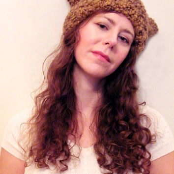 Hand Knit Cat Beanie Hat-Womens Knit Hat- Knitted Cat Ears Hat- Animal Knit Cat Ear Hat Brown Ombre Furry Boucle- THE MINX Ready To Ship