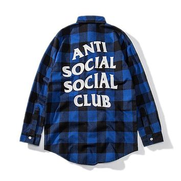 ANTI SOCIAL SOCIAL CLUB Street Tide brand retro wild plaid back letter loose long sleeve shirt Blue