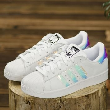 Adidas Superstar Junior White Hologram Girls Womens Shoes AQ6278 Sneaker