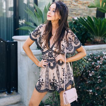 Antique Chic Lace Romper in Nude