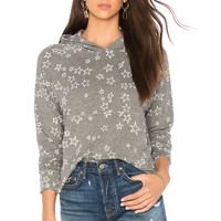 SUNDRY Stars Cropped Hoodie in Heather Grey