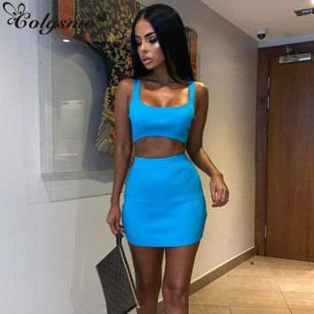 Cloysmo Ribbed Summer Dress Two Piece Women Square Collar Sleeveless Bodycon Dress Orange Casual Sexy Dress Neon Green Robe 2019