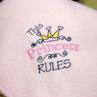 Baby Girl Blanket, Pink Fleece, Princess Rules, Fleece Blanket, Pink Blanket, Baby Shower Gift, Baby Girl Gift, Embroidered, Handmade Gift
