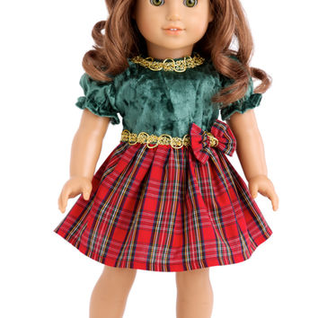 Christmas Classic - Clothes for 18 inch Doll - Green and Red Holiday Party Dress with Red Shoes and Bow