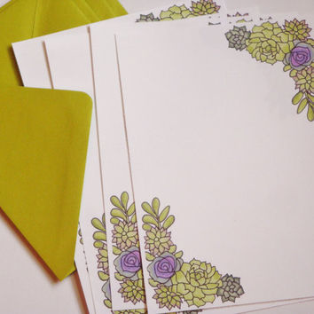 Succulent watercolor stationery set
