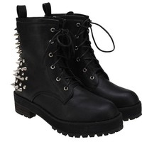 New Ladies Black Spike Studs Punk Gothic Lace Up Engineer Motorcycle Ankle Boots