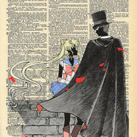 Sailor Moon Crystal Usagi and Darien Shields (Tuxedo Mask) Dictionary Art Print