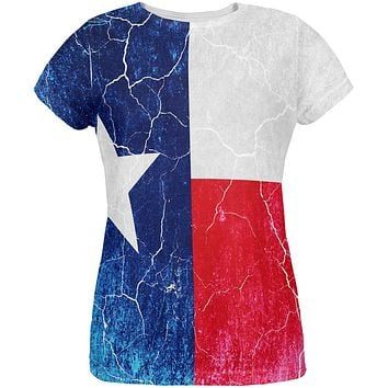 Texas Vintage Distressed State Flag All Over Womens T Shirt