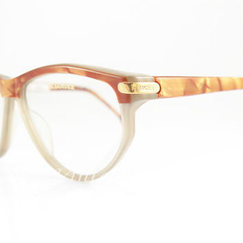 Vintage Eyeglasses ,  Jil Sander , Gold And Beige , Geek Nerd , Sunglass Frames , New Old Stock