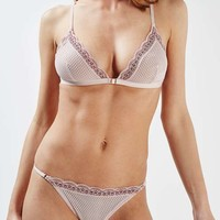Two-Tone Lace Triangle Bra and Knickers - New In