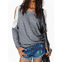 Peekaboo Crocheted Lace Long-Sleeve Tee