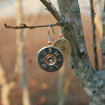 12 Gauge Single Shot Drop Earrings - Brass Tone