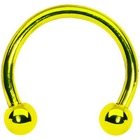 16 Gauge Yellow Titanium Horseshoe Circular Barbell 3/8"