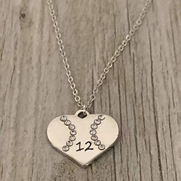 Personalized Engraved Softball Heart Necklace