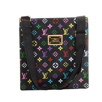 LV Louis Vuitton Men's and Women's Tide Brand Fashion High Quality Leather Office Bag Messenger F black