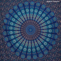 Indian Blue Floral Psychedelic Mandala Hippie Tapestry Wall Hanging on RoyalFurnish.com