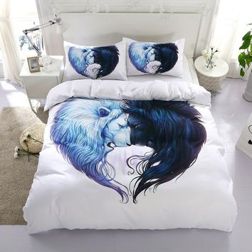 Cool 3D lion animal design twin king queen double bedclothes pillowcase bedspread duvet cover set bedding setAT_93_12