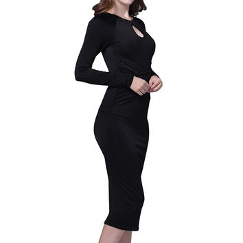Solid Color Business Casual Formal Long Sleeve O Neck Pencil Dress