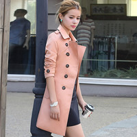 2016 Autumn New Thin Long Spring trench coat for women 5 color englant England style womens windbreaker Trench female Europen