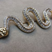 Signed Swan Swarovski Gold Plated Pave Snake Brooch Pin