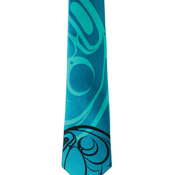 Raven Silk Tie in Turquoise designed by First Nations Artist Connie Dickens
